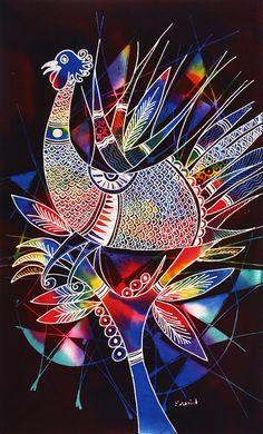 Original Batik Art Painting on Cotton 'Phoenix' by by AsianSecrets Batik Art, Batik Prints, Art Prints, Fabric Painting, Fabric Art, Indian Paintings, Indian Art, Art Techniques, Cool Artwork