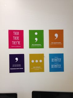 I created these in InDesign and printed them as 8x10s at Walmart. I found most of the sayings on Internet memes.