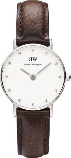 Daniel Wellington Bristol White Dial SS Brown Leather Quartz Womens Watch 0923DW