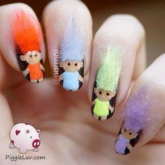 3D troll dolls nail art #piggieluv #colorfulnails #tutorial