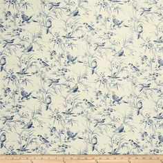 French General Aviary Toile Linen Indigo from @fabricdotcom  Screen printed on a linen/rayon blend and very versatile, this linen is perfect for window treatments (draperies, valances, curtains and swags), toss pillows, and duvet covers.