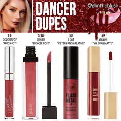 Kylie Cosmetics Dancer Lipstick Dupes [Holiday Collection] - All In The Blush Drugstore Makeup Dupes, Lipstick Dupes, Beauty Dupes, Makeup Swatches, Makeup Brands, Beauty Makeup, Lipsticks, Liquid Lipstick, Red Lips