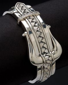 Scott Kay 'Equestrian' Silver 0.31cttw. Diamond Basketweave Bracelet