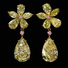 """""""To be the best; we have to produce the best"""" - Samer Halimeh New York Our beautiful pair of Yellow Diamond Earrings :"""