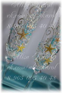 Beach wedding toasting flutes starfish wedding by AlisaKarol