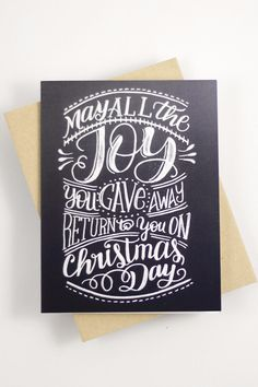 "Send a cheerful christmas message with this card that features my hand drawn, original lettering. ♥ DETAILS - s i z e : (1) card measuring approx. 4.25"" x 5.5"" (when folded) - printed on 120# Cover st"
