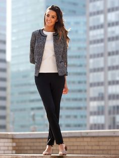 the type of jacket helps to elevate a look and the tee shirt and capris keep it comfortable