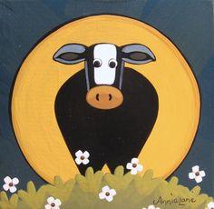 """ mOOnshine "" Whimsical Cow Art by Annie Lane  www.yessy.com/annielane"