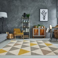 The Rug House Tapis de Salon tradtionnel Milan Triangles Motif arlequin Ocre Jaune Gris Beige x Coastal Living Rooms, Living Room Grey, Rugs In Living Room, Yellow Rug, White Rug, Grey Yellow, Yellow Cream, Geometric Rug, Red Rugs
