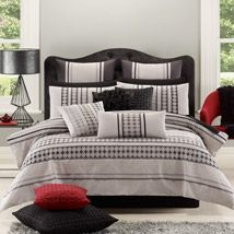 Elegant and sophisticated, Jasper has cooling colours of soft pewter, greys and charcoal to provide a neutral background for the embroidered pattern of modern mosaics that will create a fashionable bedroom. Adult Bedroom Design, Bedroom Designs, Bedroom Ideas, Simply Home, Linen Bedroom, Quilt Cover Sets, Comforters, Cool Things To Buy, Sweet Home