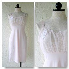 Petal Pink Lace and Sheer Bodice Vintage Full Slip VintageHag.com