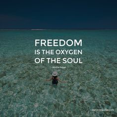 """""""Freedom is the oxygen of the soul."""" - Moshe Dayan"""