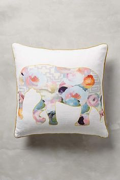 Collaged Fauna elephant Pillow - anthropologie.com