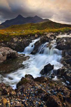 Sligachan Waterfall and Sgurr Nan Gillean Autumn. Isle of Skye. Scotland; photo by Barbara R. Jones