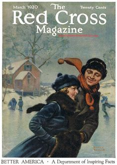 Couple Ice Skating by Norman Rockwell (1920)