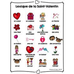 Ensemble d'activités {Saint-Valentin} Saint Valentine, Valentines Diy, Balle Anti Stress, Valentines Illustration, French Classroom, French Language Learning, Teaching French, Alphabet, Saints