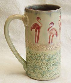 ceramic flamingo coffee mug 20oz  stoneware 20B023 by desertNOVA, $22.00 @desertnova