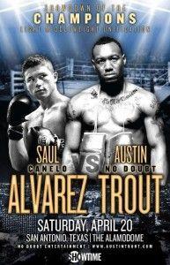La próxima pelea del Canelo Álvarez vs Austin Trout se llevará a cabo el 20 de Abril del 2013 en el Alamodome de San Antonio, Texas. Combate donde Saul el Canelo Álvarez expone el título mundial Superwelter de la CMB.