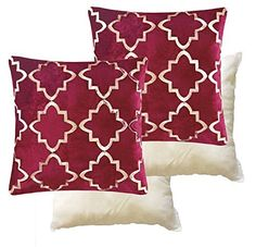 Burgundy Velvet Square Throw Accent Pillow Decorative Geometric Gold Morocan Embroidery Design for Sofa, Couch, or Bed 18X18 inches, Feather or Polyester Insert by Cf Enterprise, http://www.amazon.com/dp/B071YMRSGC/ref=cm_sw_r_pi_dp_x_V6nozbM1HECK6