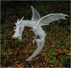 Derek Kinzett Wire Sculptures. DRAGON OF THE WOOD