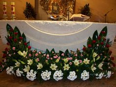Altar Sta.Marya Altar Flowers, Church Flowers, Funeral Flowers, Wedding Flowers, Church Altar Decorations, Graduation Decorations, Flower Decorations, Wedding Decorations, Ikebana