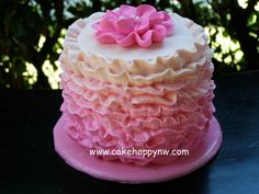 Ombré Ruffle Smash Cake!