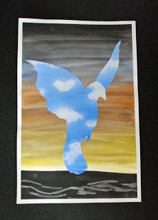 that artist woman: In the Style of Rene Magritte step by step tuto Rene Magritte, Artist Magritte, 6th Grade Art, Ecole Art, Easter Art, School Art Projects, Art Lessons Elementary, Paperclay, Art Lesson Plans