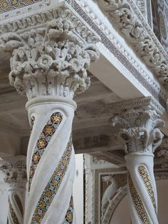 These spiral columns, decorated with mosaics, support the 'Pulpit of the Gospels' in the Duomo of Ravello (near Amalfi, Italy).  The pulpit was created in 1272 by Nicolo di Bartolomeo.
