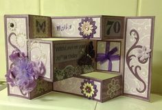 A tri-fold shutter card I just made for my mother's 70th birthday.