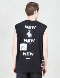 MISBHV Blurred Text And Patches Tank Top Model Picture