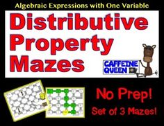 A total of 3 mazes are included in this product.  The first two Distributive Property mazes include a variable.  The third maze contains no variables and is provided for practice.  I use it to aid students understanding that the problems truly can be solved by using the distributive property, or by solving what is inside the parenthesis first.