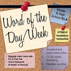 $- A full year of routine, student-driven vocab! Track CCSS L.6 with online flashcards, student-made posters, a practice data chart, and pre/post tests! Two sets of 50 words for middle and high school English class included.