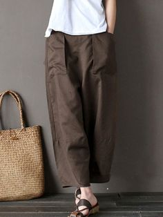 06039f7ebb96a Gracila Casual Pure Color Wide Leg Elastic Waist Pants For Women is  necessary for cold weather