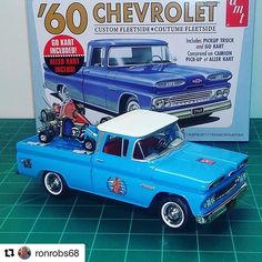 The Chevrolet Custom Fleetside pickup from is finished. This is the Zig-Zag Go Kary Race Team is ready for the 1960 Go Kart racing season! Revell Model Car Kits, Model Cars Kits, Pick Up, Model Cars Building, Go Kart Racing, Plastic Model Cars, Old Models, Scale Models, Chevrolet