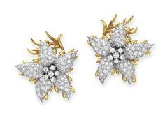 A Pair of Diamond and Gold Ear Clips, By Jean Schlumberger, Tiffany & Co.