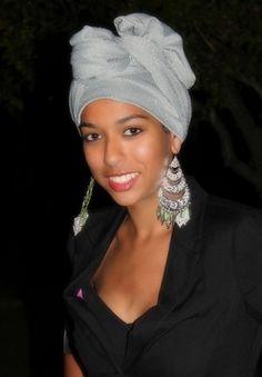 Long Head Wrap Sage & Silver Jersey (One Piece) Turbans, Headscarves, Perm, Tribal Hair, Manhattan, African Head Wraps, Head Wrap Scarf, Belleza Natural, Bad Hair Day