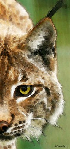 Cat Art - Lynx 2 Painting by Sharon Cummings - Cat Art - Lynx 2 Fine Art Prints and Posters for Sale