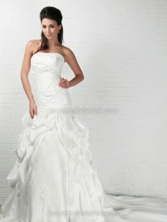Princess Strapless Taffeta Chapel Train Pick-Ups Wedding Dresses