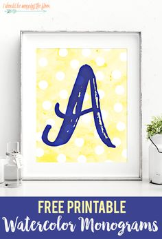 Free Printable Watercolor Monograms   Letters A-Z available for instant download.