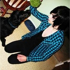 Little Andy Biersack with a dog