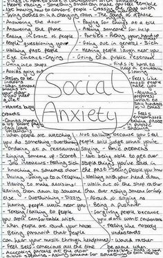 This makes me think the social anxiety is normal.I'm pretty sure anyone can find something that they do on this list! Social Anxiety Disorder, Mental Disorders, Bipolar Disorder, What Is Anxiety, Anxiety Help, Depersonalization, Now Quotes, Crazy Quotes, Hurt Quotes