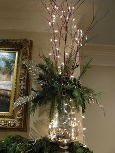 Mantel decoration branches with minimal greensMantle decoration=love the lookCreate a holiday ambiance and express your joy for this season throughout your house with these indoor Christmas decorations ideas, because every room can use [. Indoor Christmas Decorations, Christmas Arrangements, Christmas Mantels, Christmas Centerpieces, Rustic Christmas, Simple Christmas, Christmas Home, Christmas Lights, Christmas Wreaths