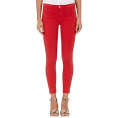 J Brand Women's 9227 Skinny Crop Jeans ($178) ❤ liked on Polyvore featuring jeans, red, j brand, super skinny jeans, zipper skinny jeans, denim jeans and skinny jeans