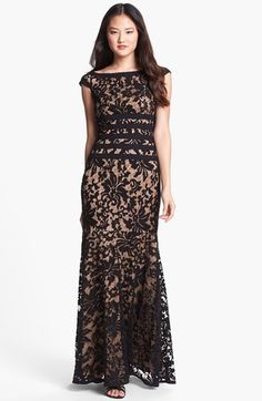 6779123cd6f Free shipping and returns on Tadashi Shoji Textured Lace Mermaid Gown at  Nordstrom.com.