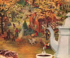 1951 Autumn Leaves Indian Summer art illustration in by Vividiom, $8.00