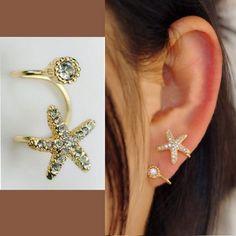 STARFISH AND ROUND RHINESTONE EAR CUFF (SINGLE, NO PIERCING) AEBGEI