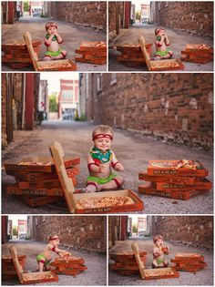 One Year Photo Session, TMNT, Little Caesars, Pizza Pizza, Urban Photo Session, Different Kind of Cake Smash  Nikabella Photography, LLC | Pizza Smash | Fond du Lac Family Photographer Birthday Pizza, Baby Boy 1st Birthday Party, Baby Cake Smash, Birthday Cake Smash, Baby Boy Pictures, Baby Photos, Baby Boy Photography, Cake Smash Photography, 6 Month Baby Picture Ideas