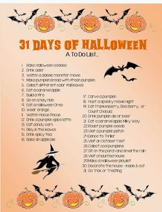31 Days of Halloween- some fun ideas. And some ideas we will have to change.