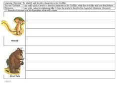 Character study for Gruffalo - Illustrated activity to do character study. Can be used as a group or independent activity.