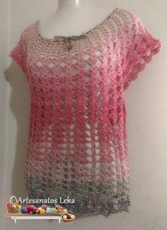 Blusa Mix em crochê, teci essa peça com 01 novelo do fio Prisma!